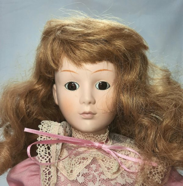 Young Lady Carly in Pink Dress Porcelain Doll