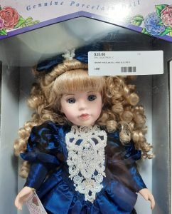 Camellia Garden Girl in Blue Dress Porcelain Doll
