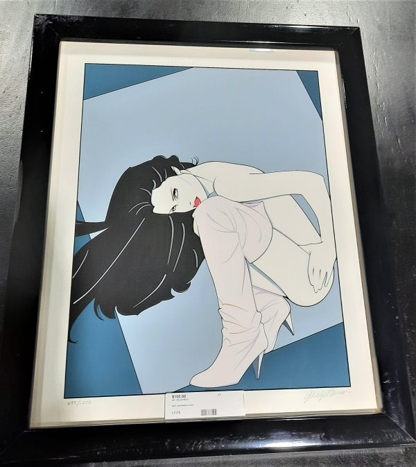 """Vintage Patrick Nagel """"Woman in Boots"""""""
