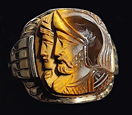 Men's Carved Tigers Eye Profile Cameo Men's Ring Size 10
